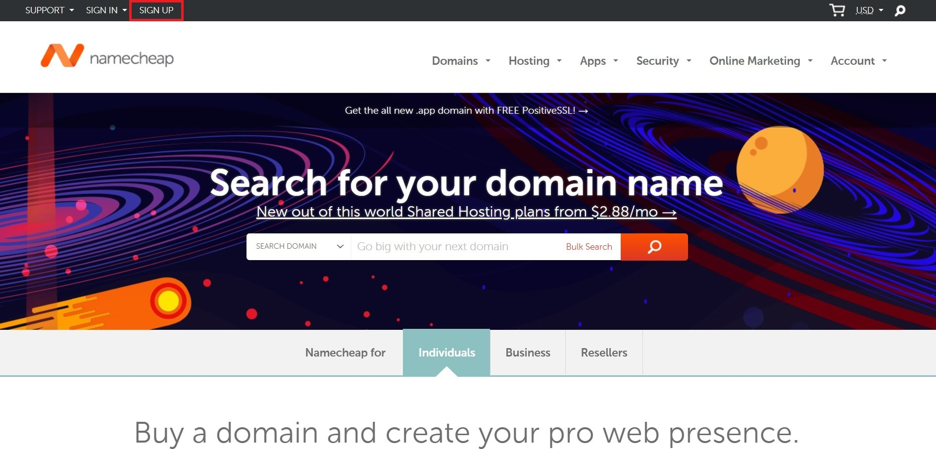namecheap homepage image